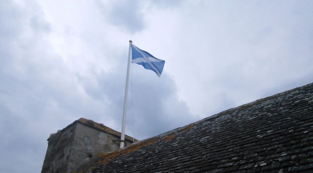 Scottish Flag over Neidpath Castle
