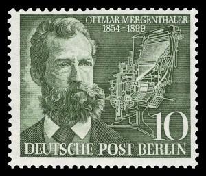 Briefmarke zum 100. Geburtstag von Ottmar Mergenthaler