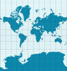 Weltkarte in klassischer Mercator-Projektion